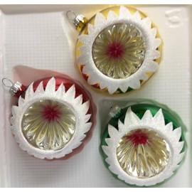 Set van 3 Retro Reflector Kersballen met Sneeuw Ø 8cm