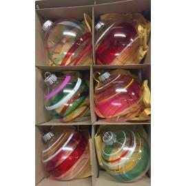 Set van 6 Retro Kerstballen Transparant Streep