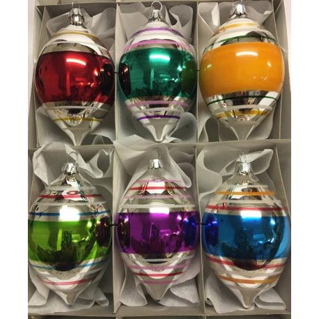 Set van 6 Retro Kerstballen Citroen Streep