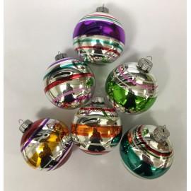 Set van 6 Retro Kerstballen Streep