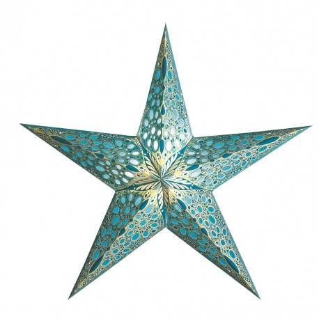 Papieren Kerstster Turquoise Small