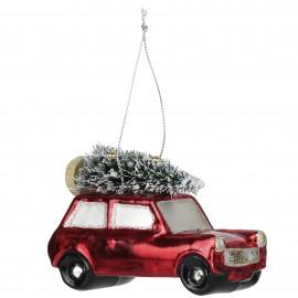 Kerstbal Mini Cooper met Kerstboom