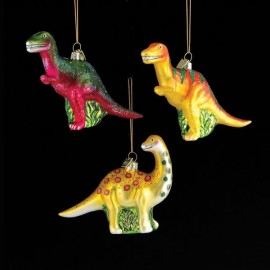Kerstbal Glas Dinosaurus ass