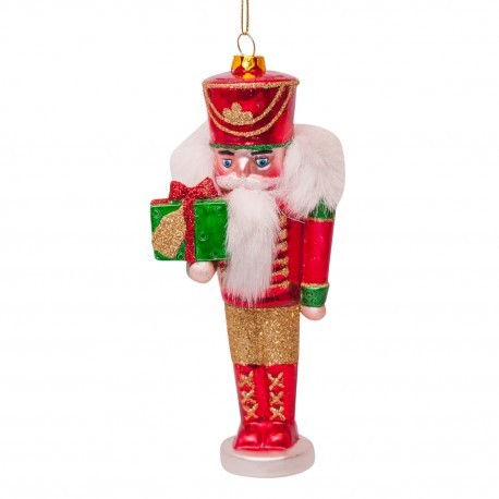 Kerstbal Nutcracker Rood-Groen