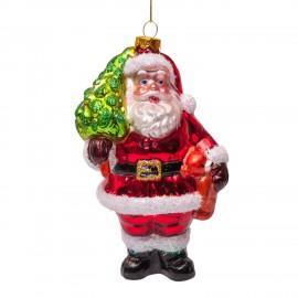 Kerstbal Kerstman met Beer en Boom