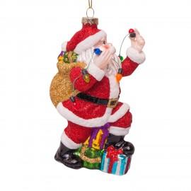 Kerstbal Kerstman met Lichtsnoer