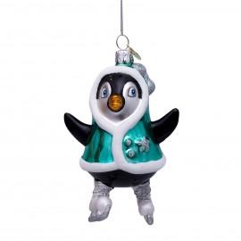 Kerstbal Pinguin op Schaatsen
