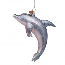 Kerstbal Dolfijn met Glitter
