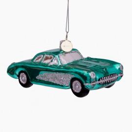 Kerstbal Oldtimmer Auto Blauw-Groen