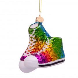 Kerstbal Regenboog Sneakers met Glitter