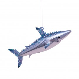 Kerstbal Haai Blauw-Wit