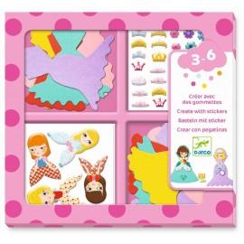 Djeco Creëren met stickers Ik hou van Prinsessen