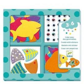 Djeco Creëren met stickers Ik hou van Vissen