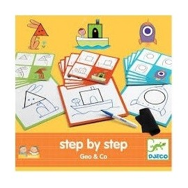 Djeco Tekenkaarten Step by Step Geo and Co