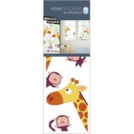 Raamstickers Giraffes en Aapjes