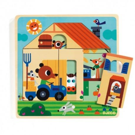 Djeco 3 Laags Puzzel Chez Gaby