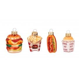 Set van 4 Fast Food Kerstballen