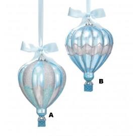Kerstbal Luchtballon Blauw Zilver