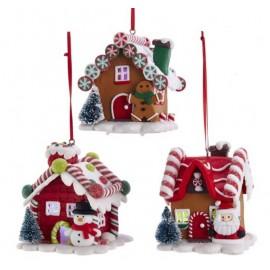 Kerstbal Peperkoek Huisje met Licht