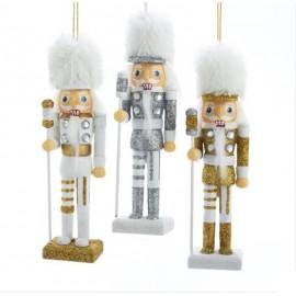Kerstbal Notenkraker Wit-Zilver-Goud