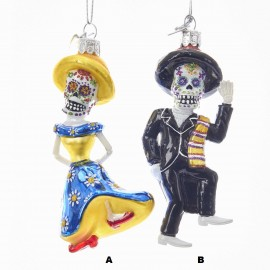 Kerstbal Mr. & Mrs. Skeleton