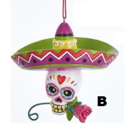 Kerstbal Day of the Dead Wobble Skull