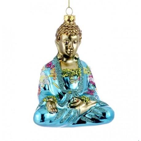 Kerstbal Buddha Aqua Goud