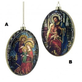 Kerstbal Holy Family Ovaal Disk