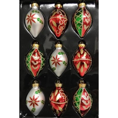 Set van 9 Retro Kerstballen Pegels