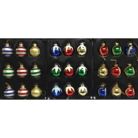 Set van 9 Retro Mini Kerstballen