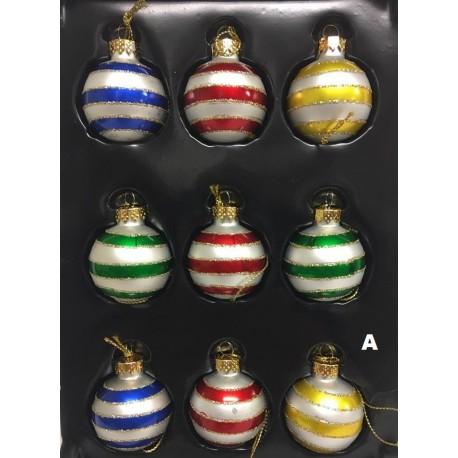 Set van 9 Retro Mini Kerstballen