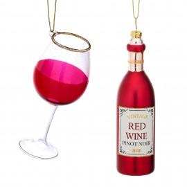 Kerstballen set Rode wijn met glas