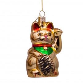 Kerstbal Lucky Cat Goud