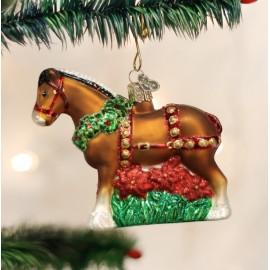 Kerstbal Paard Clydesdale