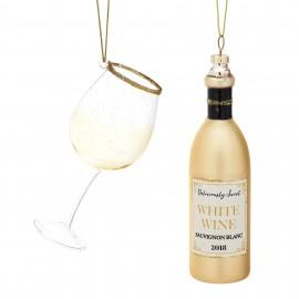 Kerstballen set Witte Wijn met glas