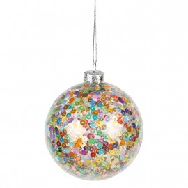 Kerstbal Multi Colour Sequins