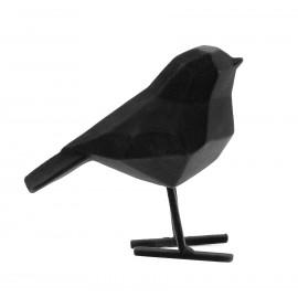 Beeld Vogel flocked zwart small