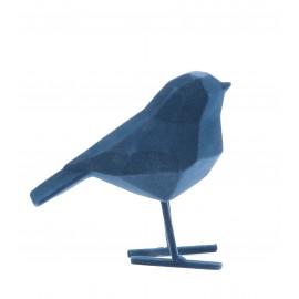 Beeld Vogel flocked donkerblauw small