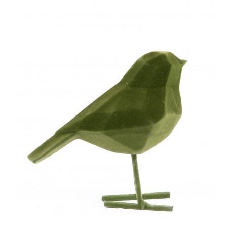 Beeld Vogel flocked donkergroen small