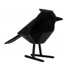 Beeld Vogel flocked zwart large