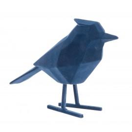 Beeld Vogel flocked donkerblauw large