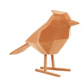 Beeld Vogel flocked bruin large
