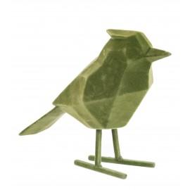 Beeld Vogel flocked donkergroen large