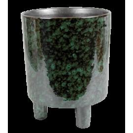 Bloempot op voet Crus H17 metalic groen