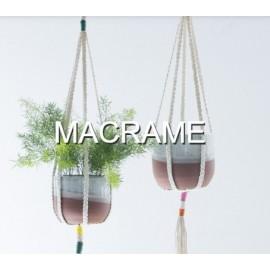 Macrame Jute Plantenhanger roze-oranje