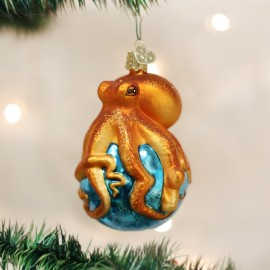 Kerstbal Octopus Oranje