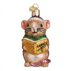 Kerstbal Zingende Muis geel boek