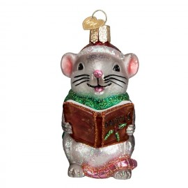 Kerstbal Zingende Muis bruin boek