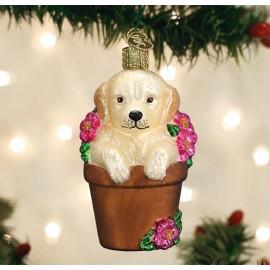 Kerstbal Puppy in Bloempot