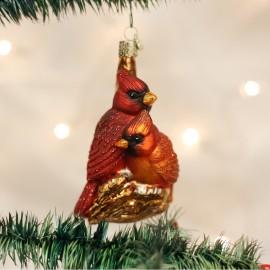 Kerstbal Rode Kardinaal  stelletje